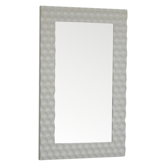 Tufa Honeycomb Carved Wall Bedroom Mirror In White Wooden Frame