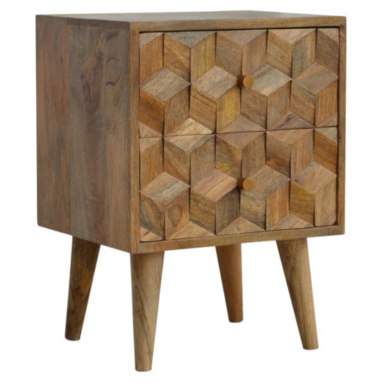 Tufa Wooden Cube Carved Bedside Cabinet In Oak Ish 2 Drawers