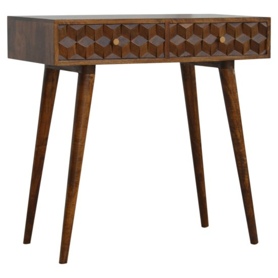 Tufa Wooden Cube Carved Console Table In Chestnut