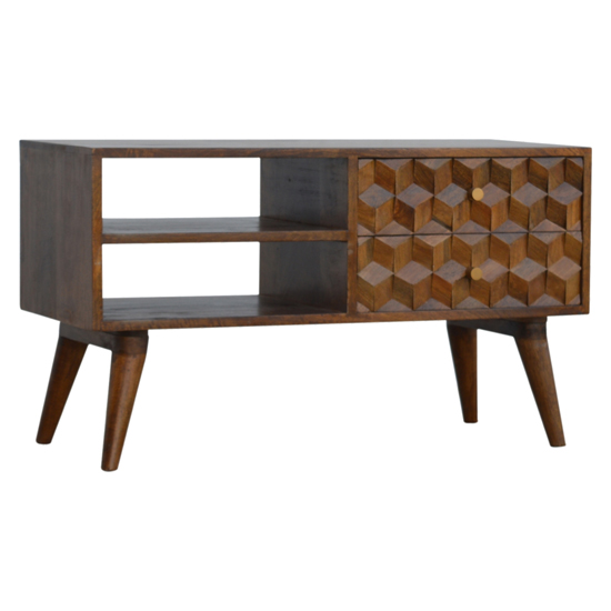 Tufa Wooden Cube Carved TV Stand In Chestnut