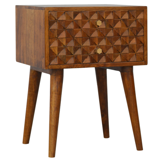 View Tufa wooden diamond carved bedside cabinet in chestnut 2 drawers