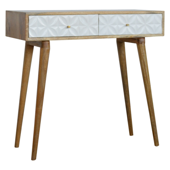 Tufa Wooden Diamond Carved Console Table In Oak Ish And White