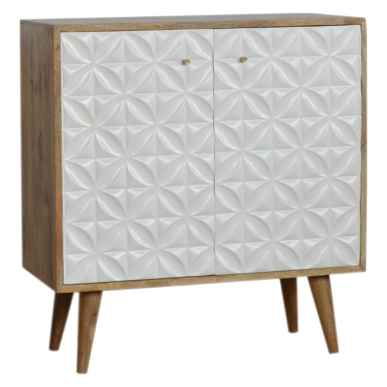 Tufa Wooden Diamond Carved Storage Cabinet In Oak Ish And White