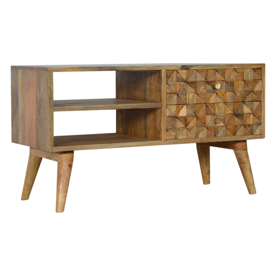 Tufa Wooden Diamond Carved TV Stand In Oak Ish