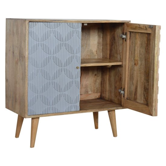 Tufa Wooden Geometric Carved Storage Cabinet In Oak Ish And Grey_3