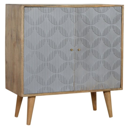 Tufa Wooden Geometric Carved Storage Cabinet In Oak Ish And Grey_1