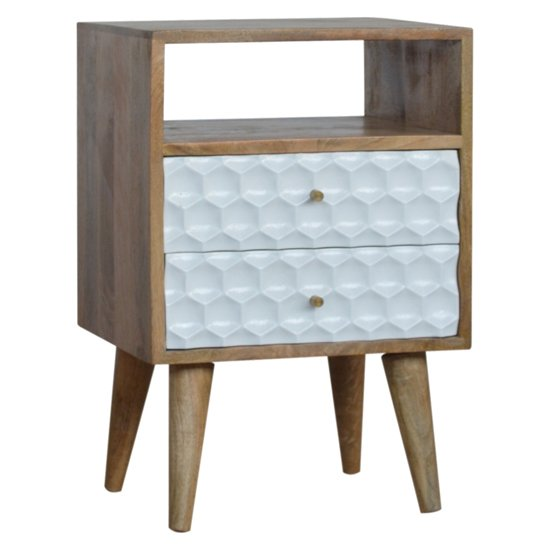 Tufa Wooden Honeycomb Carved Bedside Cabinet In Oak And White