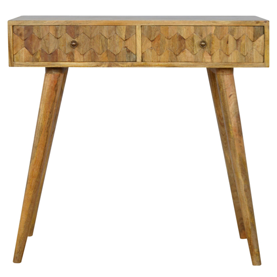 Tufa Wooden Pineapple Carved Console Table In Oak Ish_2