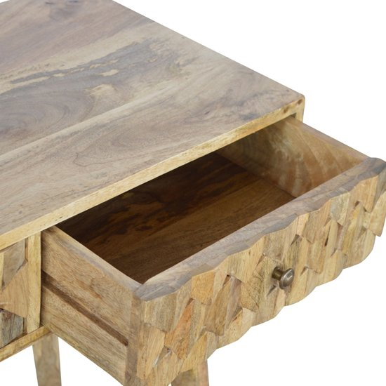 Tufa Wooden Pineapple Carved Console Table In Oak Ish_3