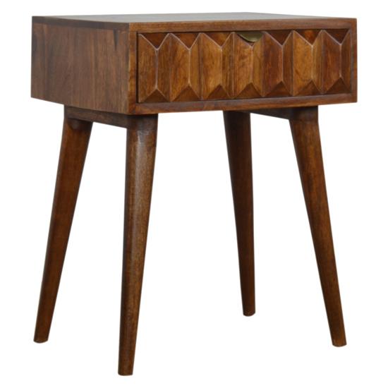 View Tufa wooden prism carved bedside cabinet in chestnut 1 drawer
