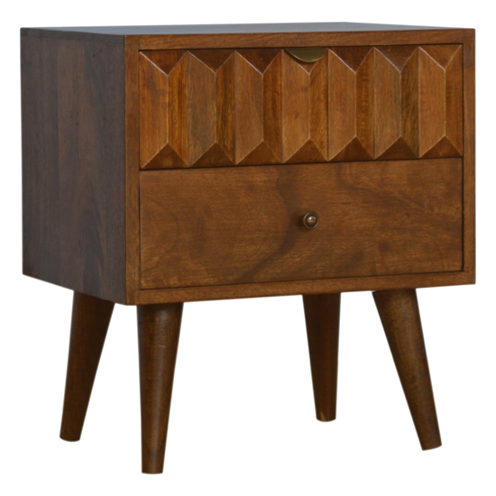 View Tufa wooden prism carved bedside cabinet in chestnut 2 drawers