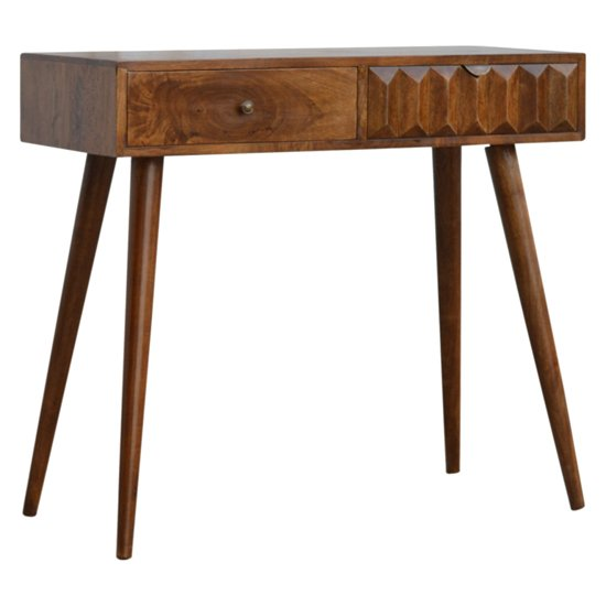 Tufa Wooden Prism Carved Console Table In Chestnut