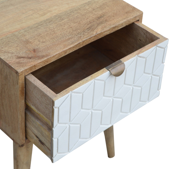 Tufa Wooden Sleek Carved Bedside Cabinet In Oak Ish And White_3