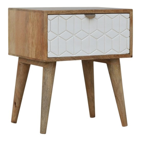 Tufa Wooden Sleek Carved Bedside Cabinet In Oak Ish And White_1