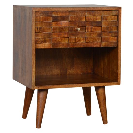View Tufa wooden tile carved bedside cabinet in chestnut