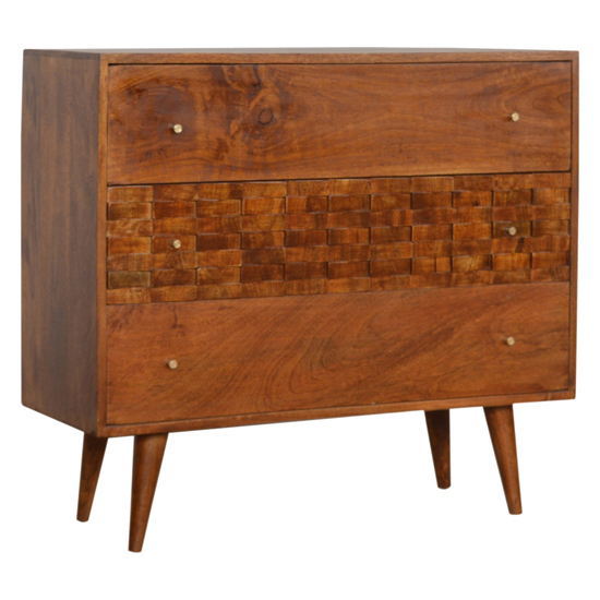 View Tufa wooden tile carved chest of 3 drawers in chestnut