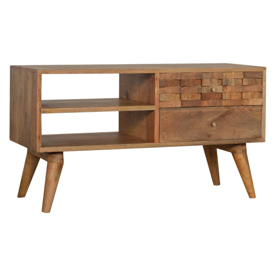 Tufa Wooden Tile Carved TV Stand In Oak Ish