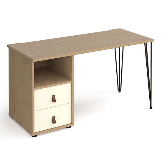 Tufnell Computer Desk In Kendal Oak With 2 White Drawers