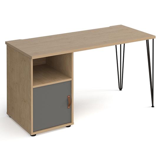 View Tufnell wooden computer desk in kendal oak with onyx grey door