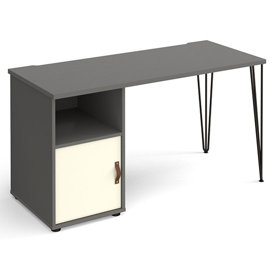 View Tufnell wooden computer desk in onyx grey with white door