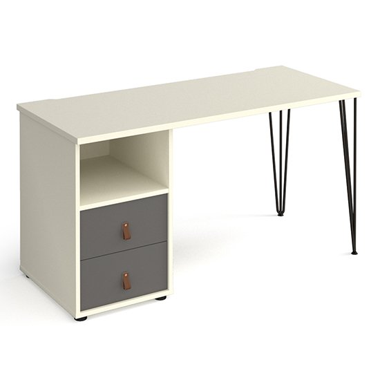 View Tufnell computer desk in white with 2 onyx grey drawers