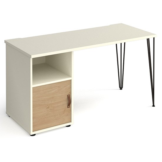 View Tufnell wooden computer desk in white with kendal oak door