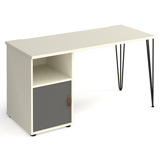 Tufnell Wooden Computer Desk In White With Onyx Grey Door