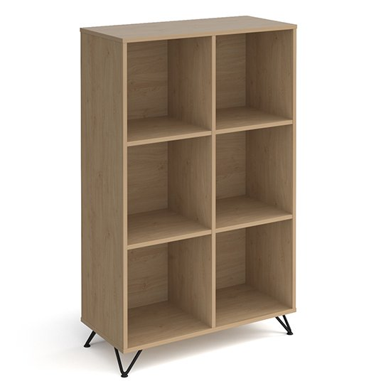 Tufnell High Wooden Shelving Unit In Kendal Oak And 6 Shelves