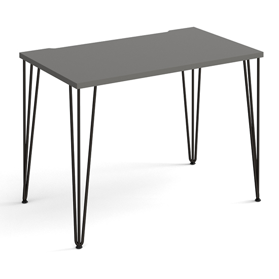 Product photograph showing Tufnell Wooden Laptop Desk In Onyx Grey With Black Hairpin Legs