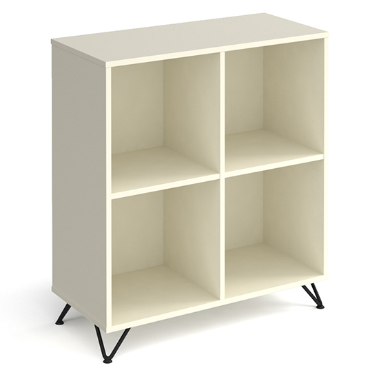 Tufnell Low Wooden Shelving Unit In White With 4 Shelves