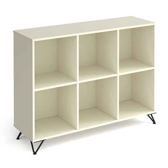 Tufnell Low Wooden Shelving Unit In White With 6 Shelves