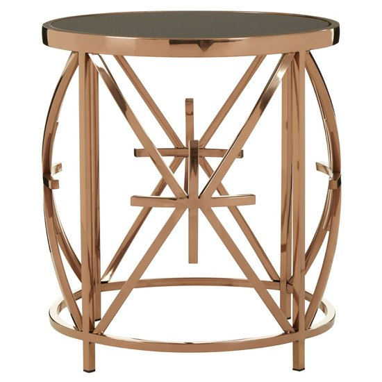 Saclateni Black Glass Round Side Table With Rose Gold Star Base
