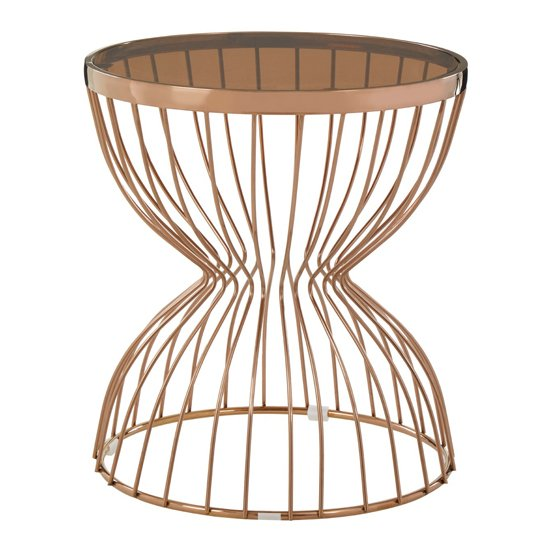 Saclateni Round Glass Side Table In Rose Gold With Hourglass Bas