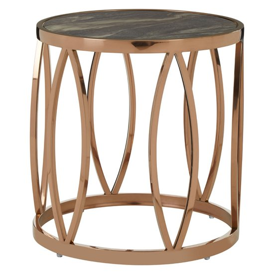 Saclateni Round Marble Side Table In Rose Gold With Leaf Base