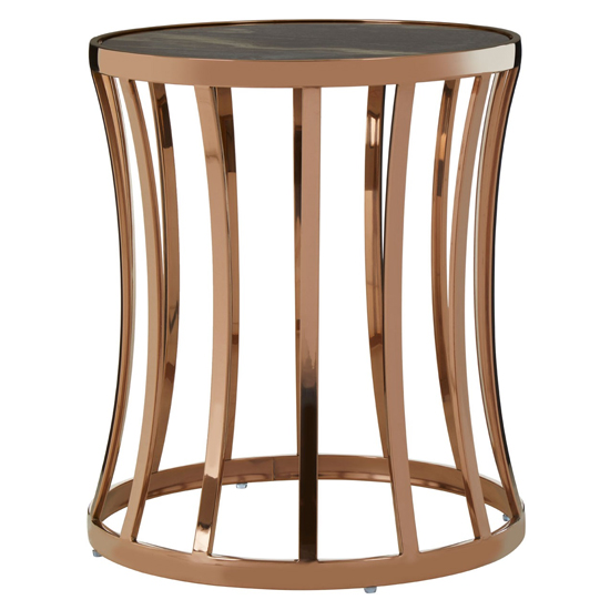 Saclateni Round Marble Side Table In Rose Gold    _1