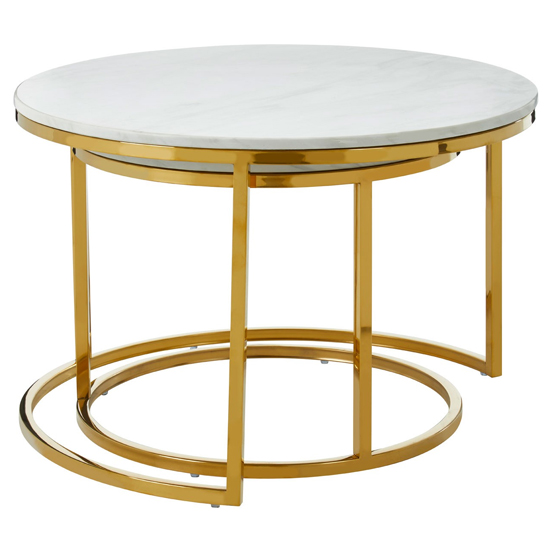 Saclateni Set Of 2 Round Marble Coffee Tables With Gold Base