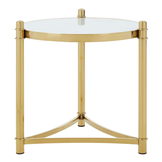 Saclateni White Tempered Glass Side Table With Gold Base