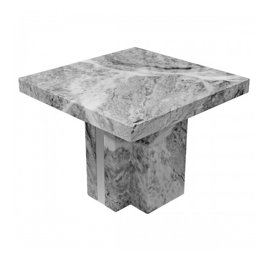 Tulia Marble Lamp Table In Grey With Mirrored Side Panels