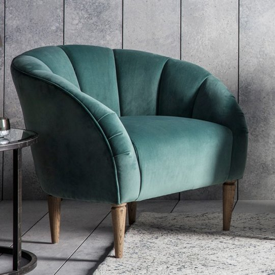 Tulip Bedroom Chair In Mint Velvet