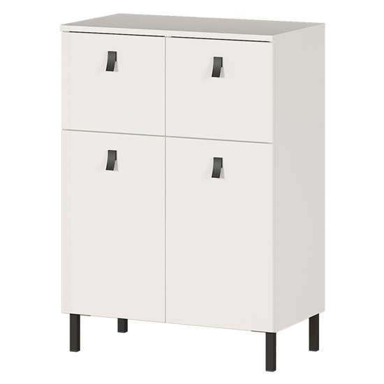 Tulsa Chest Of Drawers In White 2 Doors And 2 Drawers