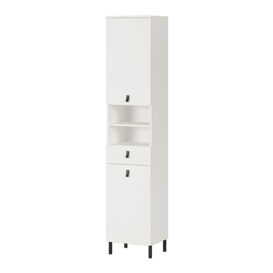 Tulsa Tall Bathroom Storage Cabinet In White