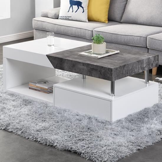 View Tuna storage coffee table in matt white and concrete effect