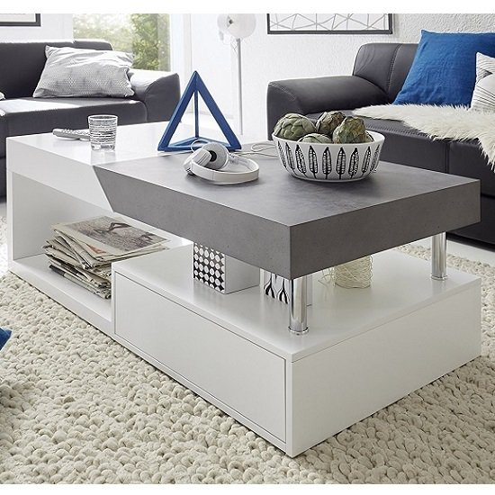 Tuna Extendable Coffee Table In Matt White And Concrete Effect 1