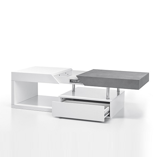 Tuna Extendable Coffee Table In Matt White And Concrete Effect_2
