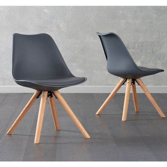 Tupa Dark Grey Faux Leather Chairs With Round Leg In Pair_1