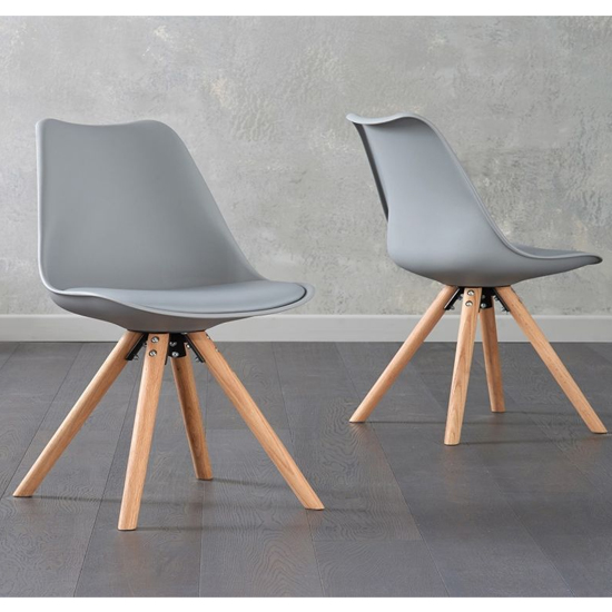 Tupa Light Grey Faux Leather Chairs In Pair With Round Leg