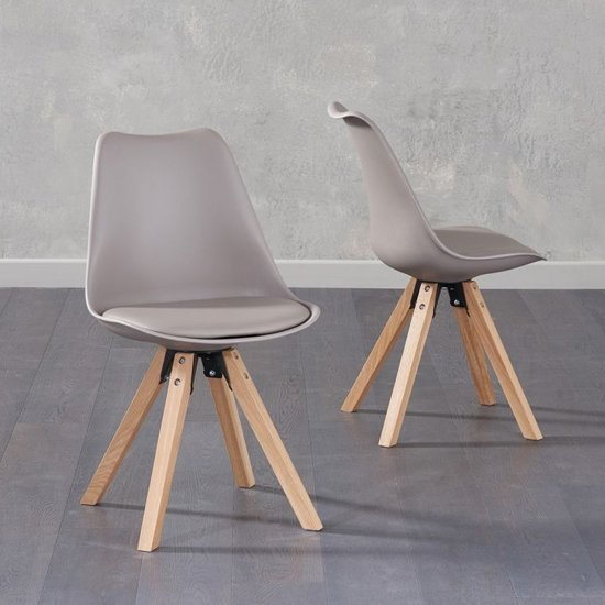 Tupa Taupe Faux Leather Chairs In Pair With Square Leg
