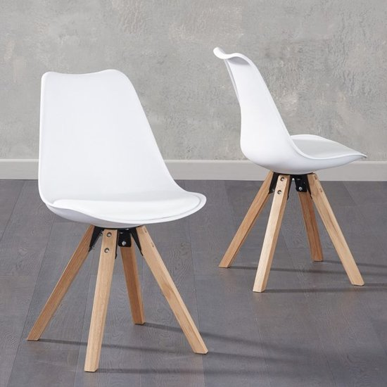 Tupa White Faux Leather Chairs In Pair With Square Leg
