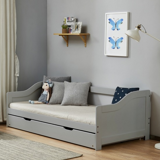 Tupelo Wooden Single Bed In Grey With Pull Out Trundle