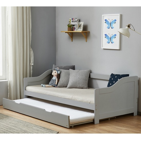 Tupelo Wooden Single Bed In Grey With Pull Out Trundle_2